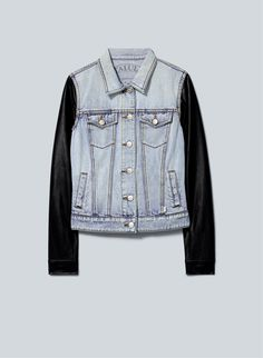 BACK IN STOCK: Talula Harlem Jacket, now available at Aritzia.com. #denim faux #leather