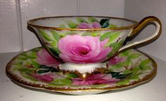 Vintage Hand Painted Tea Cup and Saucer by HavenBoutique on Etsy