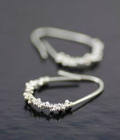 frosted pears sterling silver earrings - alternative hoop unique modern threaders -  handmade in seattle by lolide