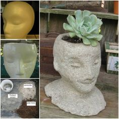 Cement Head Planters,  made using a Styrofoam wig form as the base, glue and Portland cement.