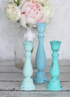 Hey, I found this really awesome Etsy listing at http://www.etsy.com/listing/107618986/shabby-chic-candle-holders-distressed