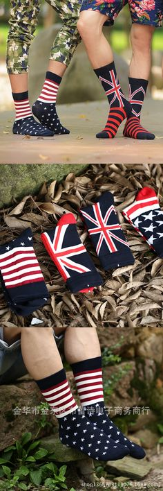 Chic 1 Pair Fashion American Flag British flag Men's Cotton Stars & Stripes USA Socks Old Glory Casual Crew Hot2016