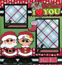 CHRISTMAS 2 premade scrapbook pages paper piecing Santa boy girl layout ~ CHERRY #BowlFullofCherriesScrapbooking