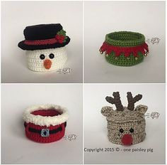 Ravelry: Christmas Basket Collection pattern by Paisley Crochet Christmas Ornaments, Christmas Crochet Patterns, Holiday Crochet, Crochet Gifts, Christmas Snowman, Christmas Crafts, Christmas Tree Themes, Xmas Decorations, Sock Crafts