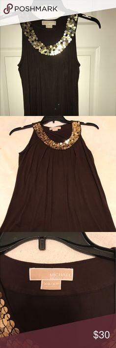Michael Kors,  XS/XP, Brown sleeveless top This is a pre-owned, Michael Kors sleeveless top, with sequins. It is in excellent condition. It is XS.  This blouse is 25 inches long and 10 inches, shoulder to shoulder MICHAEL Michael Kors Tops Blouses