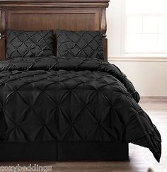 Emerson 4pc Pinched Pleat Comforter Set BLACK - Full, Queen, King, Cal-King