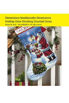 Dimensions Needlecrafts Dimensions Holiday Glow Stocking Counted Cross Stitch Kit, 70-08952 (3-(Pack))