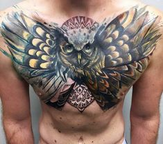 Man With New School Owl Tattoo On Chest