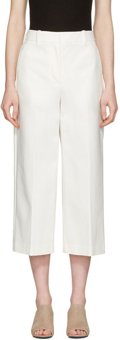 3.1 PHILLIP LIM White Wide-Leg Crop Tailored Trousers. #3.1philliplim #cloth #trousers