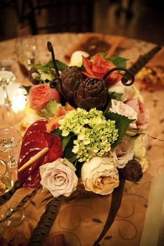 bonito centro flores alcachofa deco