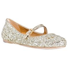 Miu Miu gold glitter leather mary-jane flats at Bluefly ($360) ❤ liked on Polyvore featuring shoes, flats, miu miu, sapatos, mary jane flat shoes, gold shoes, gold flat shoes, mary jane shoes flats and glitter flats