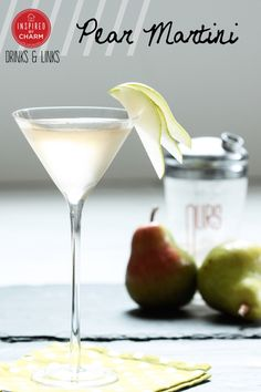 PEAR MARTINI makes 1 cocktail 3 ounces pear vodka 3 ounces St-Germain 1 ounce lemon juice, freshly squeezed 1 dash angostura bitters Pear, sliced Shake all of the ingredients with ice and strain into a chilled martini glass. Garnish with a slice of pear. Party Drinks, Cocktail Drinks, Fun Drinks, Yummy Drinks, Beverages, Fall Cocktails, Pear Martini, Martini Bar, Elderflower Martini