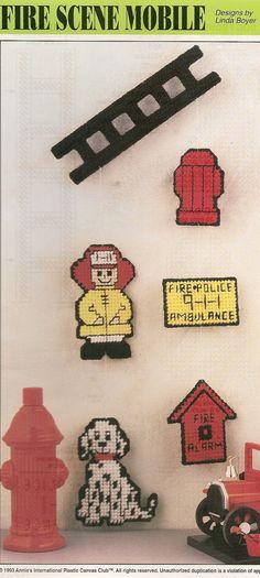 Firefighter Scene Mobile Plastic Canvas by needlecraftsupershop, $3.50