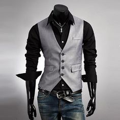 Men's Slim Fit Button Down Vest