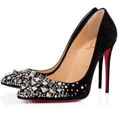 KEOPUMP VEAU VELOURS 100 Black/Mix Black Multi Strass - Women Shoes -... (€1.080) ❤ liked on Polyvore featuring shoes, pumps, louboutin, swarovski crystal shoes, black sparkly shoes, kohl shoes, sparkly shoes and christian louboutin shoes