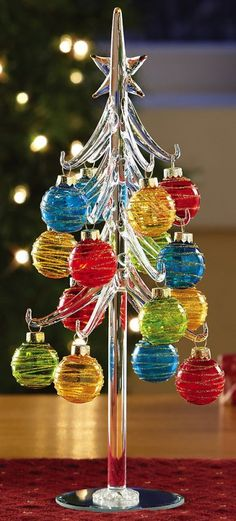 Festive Glass Chrismas Tree With Ornaments Tabletop Decoration!!! Bebe'!!! Really pretty blown glass Christmas Tree with matching hand blown holiday ornaments with etching!!!