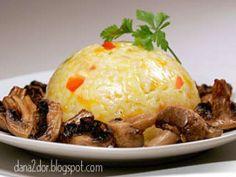 Orez cu legume si ciuperci coapte