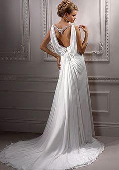 Chic Spaghetti Straps Sheath/column Chiffon Sleeveless Floor-Length Wedding Dress picture 2