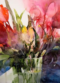 Elke Memmler- Beautiful use of colour in florals. Watercolor Artists, Abstract Watercolor, Watercolor And Ink, Watercolour Painting, Watercolor Flowers, Painting & Drawing, Watercolors, Illustration Blume, Watercolor Illustration