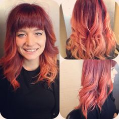 Darker, winter Peach, ombré from Aveda color.
