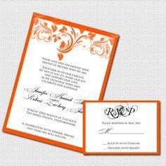 Saffron Orange and White Floral Border Printable by ENoteables, $30.00