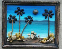"Pebble Art, Pebble Art Family, Rock Art Family and Dogs, Pebble Art Ocean, Pebble Art Dogs, Family pets, ""open"" 8.5x11 frame (FREE SHIPPING)"