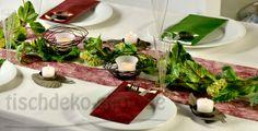 Tischdeko Bordeaux/Grün