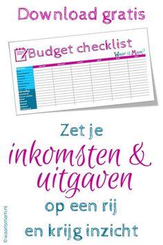 Als je op jezelf gaat wonen krijg je te maken met inkomsten en uitgaven. Budget Planner, Life Planner, Weekly Planner, Gratis Download, Self Made Millionaire, Desperate Housewives, Planning And Organizing, Interesting Reads, Budgeting Finances