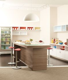Coalesse Enea cafe stools in a working kitchen environment.