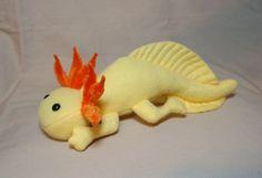 Forro polar amarillo oro Salamandra mexicana peluche felpa