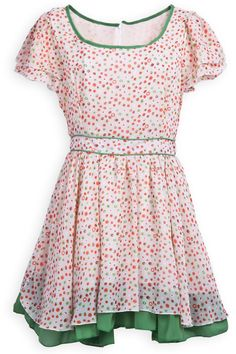 Pink Short Sleeve Polka Dot Contrast Trims Dress