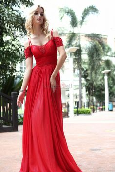 aa40f93948 Red Floor Length Evening Dress With Multiple Straps