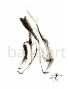 Pointe Shoes Ballet Art pencil drawing art print by BalletArt