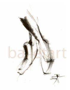 Pointe Shoes Ballet Art pencil drawing art print by BalletArt