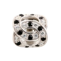 Hoff Jewelers :: Silver Charm with White and Black Cubic Zirconia #hoffjewelers