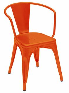 A56, lacquered #steel #orange #armchair, by Jean Pauchard (?), for Tolix (www.tolix.fr)