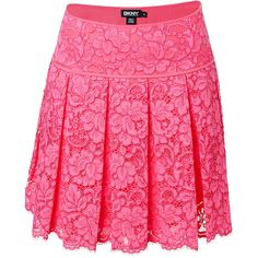 DKNY Pleated Lace Skirt ($88) ❤ liked on Polyvore featuring skirts, bottoms, rose, lace overlay skirt, pink lace skirt, dkny skirts, lace skirt and knee length pleated skirt