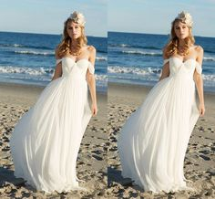 Cheap Chiffon Beach Wedding Dresses Off The Shoulder White Wedding Gowns A Line Pleated Bohemia Bridal Dresses Full Length Online with $111.0/Piece on Ballydress's Store | DHgate.com