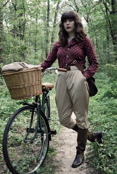 Vintage Riding Breeches, Vintage Pheasant Blouse, J.Crew Canvas And Leather Riding Boots, Millicent, My Vintage Bicycle
