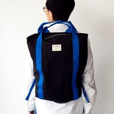 WONDER BAGGAGE ワンダーバゲージ / Relax sack tote : black × blue リラックス ザック トート ブラック × ブルー - struct