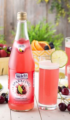 Welch's Sparkling Cherry Limeade. Perfect balance of sweet, tart & fizzy! Non alcoholic sparkling drinks.