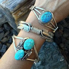 Dreamy two stone and stacker cuffs - perfect Saturday style!! Shop our feed or our website- http://ift.tt/1dFpRbx - DM with any questions you might have. More stacker cuffs to come!! Enjoy your Saturday!   #SunfaceTraders #NativeAmericanJewelry #navajojewelry #cowgirl #gemstone #turquoise #squashblossom #accessories #hugeturquoise #rodeo #natural #VintageStyle #stackers #bohostyle #bracelet #Authentic #handmade #designer #jewelry #western #Arizona #cuff #fashion #cowgirlstyle #feather…
