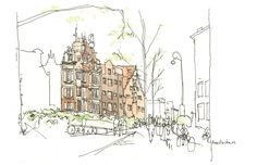 """Amsterdam, Architectural sketch in watercolor and ink - 8.5""""x5.5"""" print. $8.00, via Etsy."""