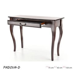 Padova D Konzolasztal Sötét dió Az antik benyomást keltő Padova D konzolasztal megkoronázza a szoba egyedi hangulatát. Figyelemre méltó bútordarab, mely a stílusos és elegáns belső terekben, valamint a modern dizájnnal megáldott házbelsőkben mutat a legjobban. Office Desk, Decor, Furniture, Table, Home, Entryway Tables, Entryway, Home Decor