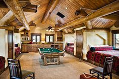 mountain home bunk room minus the pool table Attic Game Room, Bunk Rooms, Bedrooms, Bunk Beds, Built In Bunks, House Games, Bedroom Layouts, Bedroom Ideas, Cozy Cabin