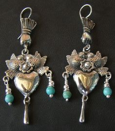 Frieda Kahlo sterling and turquoise earrings