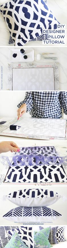 Cutting Edge Stencils shares DIY stenciled accent pillows using the Trellis and Herringbone Stitch Paint-A-Pillow kit in navy. http://paintapillow.com/index.php/trellis-paint-a-pillow-kit.html