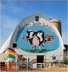Schuster's Family Farm - My friend painted this barn in WI and I think it's brilliant!  I had to move all the way to Taiwan to meet her and realize we lived just down the road from each other in WI.  Small world....