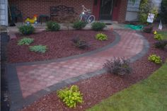Walkway with plants Commercial Landscaping, Paver Walkway, Lawn Care, Pest Control, Porches, Decks, Landscape Design, Trail, Outdoor Decor
