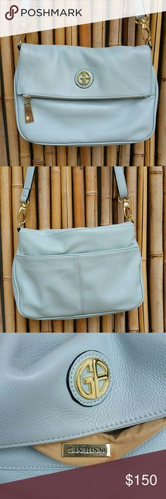 GIANI BERNINA Blue Leather Crossbody Bag! Genuine leather 13e3a5490c8ee